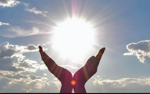 Sun and hands